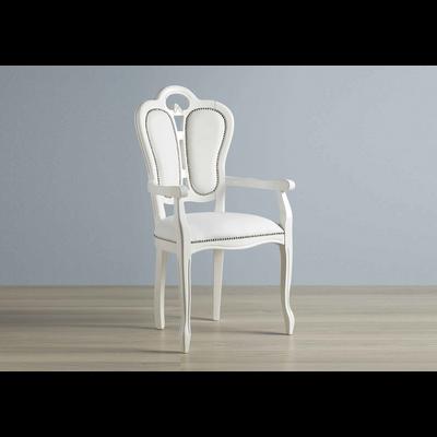 Chaise-fauteuil cuir blanc GRETA
