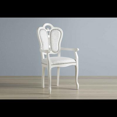 Chaise-fauteuil tissu blanc GRETA