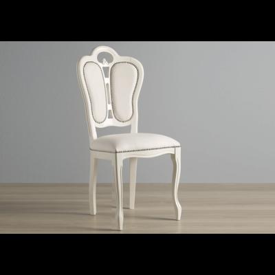 Chaise cuir laqué blanc GRETA