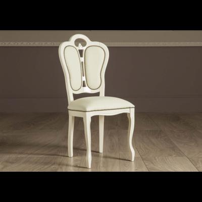 Chaise cuir laqué beige GRETA