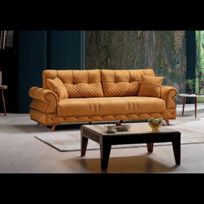 Canapé lit coffre tissu abricot PAVENA