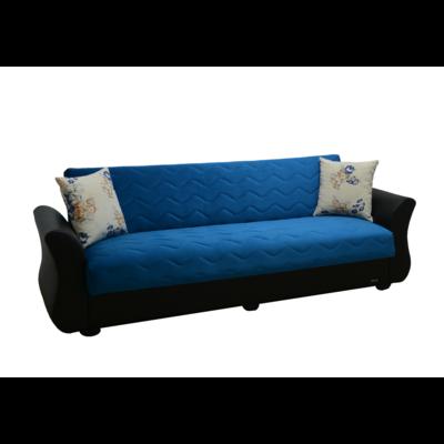 Canapé lit coffre velours bleu ECOLINE