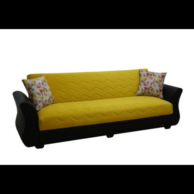 Canapé lit coffre velours jaune ECOLINE