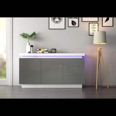 Buffet laqué blanc gris LED OPRA