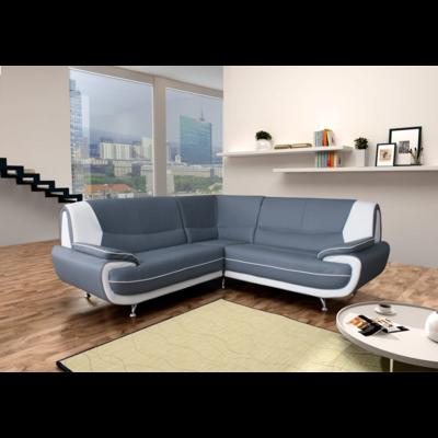 Canapés angle design cuir gris blanc CLOÉ