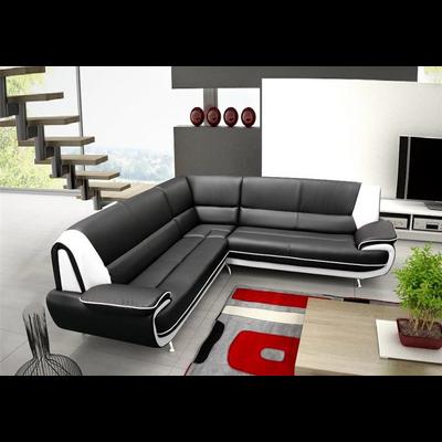 Canapés angle design cuir noir blanc CLOÉ