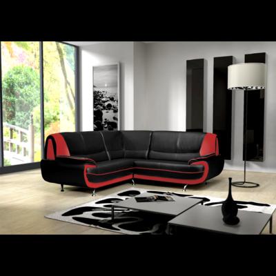 Canapés angle design simili noir rouge CLOÉ