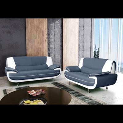Canapés design 3+2 cuir gris blanc CLOÉ
