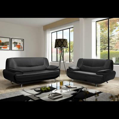 Canapés design 3+2 cuir noir CLOÉ