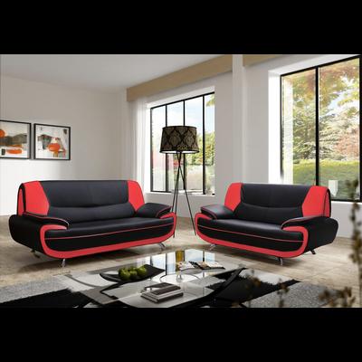 Canapés design 3+2 cuir noir rouge CLOÉ