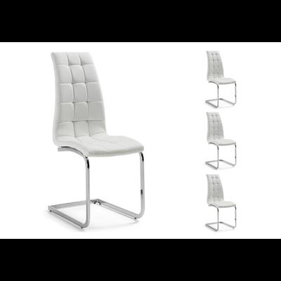 Lot 6 chaises chromé capitonné blanc SIA