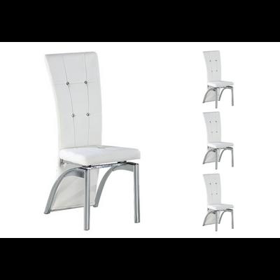 Lot 6 chaises chromé capitonné blanc ZEA