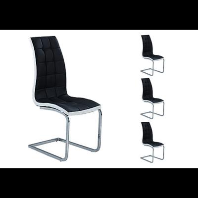 Lot 6 chaises chromé capitonné noir blanc SIA