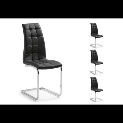 Lot 6 chaises chromé capitonné noir SIA