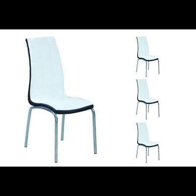 Lot 6 chaises chromé blanc noir DEA