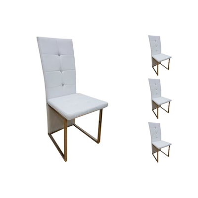 Lot 6 chaises chromé blanc SYM