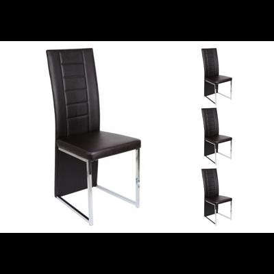 Lot 6 chaises chromé choco ERA