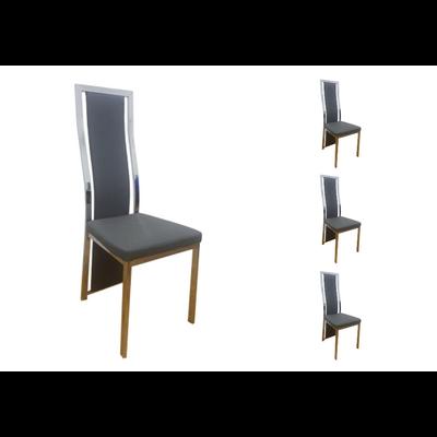 Lot 6 chaises chromé cuir gris DIA