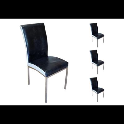 Lot 6 chaises chromé noir blanc DAN