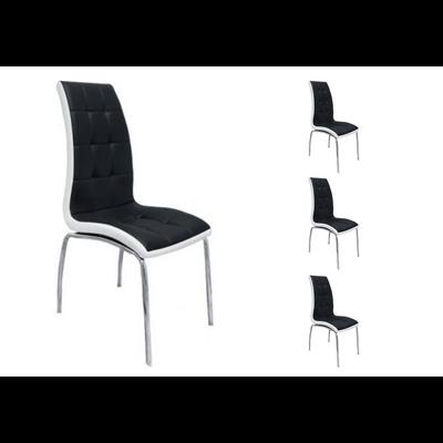 Lot 6 chaises chromé noir blanc DEA