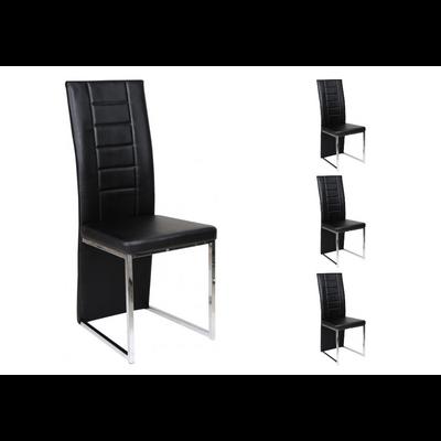 Lot 6 chaises chromé noir ERA