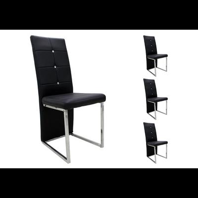 Lot 6 chaises chromé noir SYM