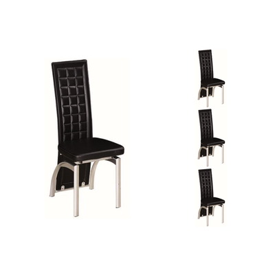Lot 6 chaises chromé simili noir LITE