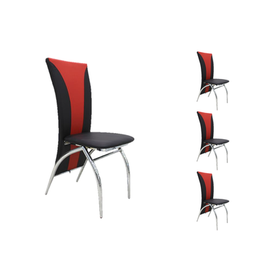 Lot 6 chaises chromé simili rouge IVO
