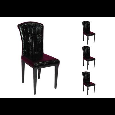 Lot 6 chaises laqué croco noir SLY