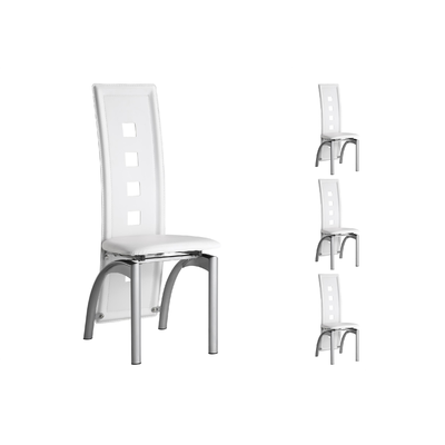 Lot 6 chaises métal simili blanc LINE