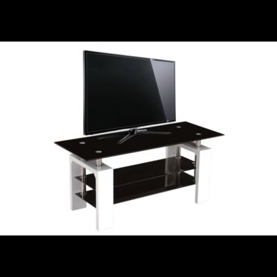 Meuble TV laqué blanc verre noir TOE