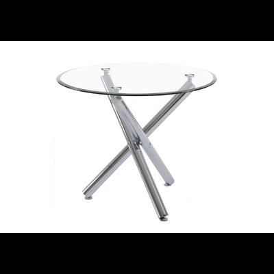 Table à manger ronde verre chromé RETRO