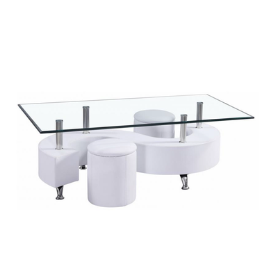 Table basse 2 poufs blanc CLOE