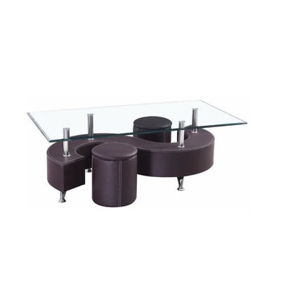 Table basse 2 poufs choco CLOE