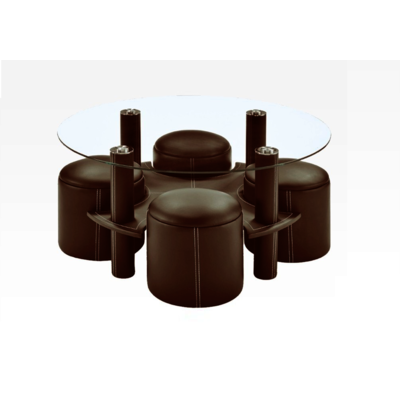 Table basse 4 poufs choco CLOE