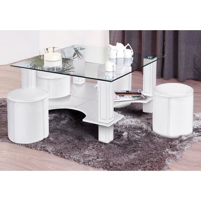 Table basse 4 poufs blanc CORA