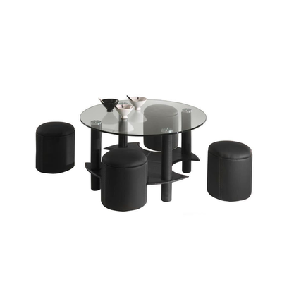 Table basse 4 poufs noir CLOE