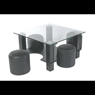 Table basse 4 poufs gris CORA