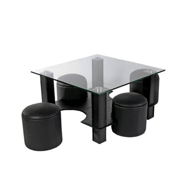 Table basse 4 poufs noir CORA