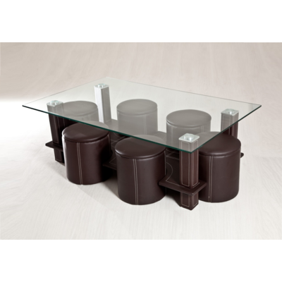 Table basse 6 poufs choco CORA