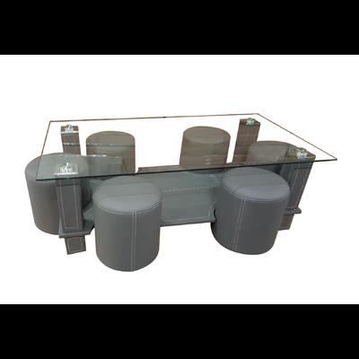 Table basse 6 poufs gris CORA
