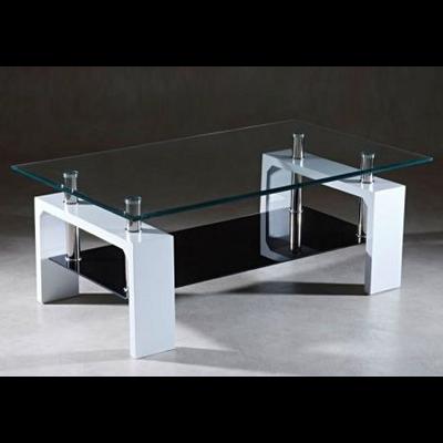 Table basse laqué blanc verre trempé TOE