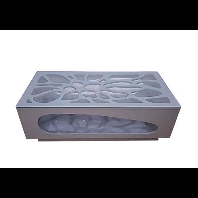 Table basse laqué gris verre trempé FLO