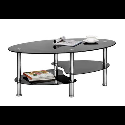 Table basse verre trempé noir TAO