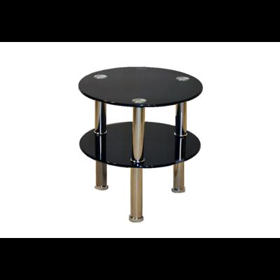 Table d'appoint chromé verre noir ZAO