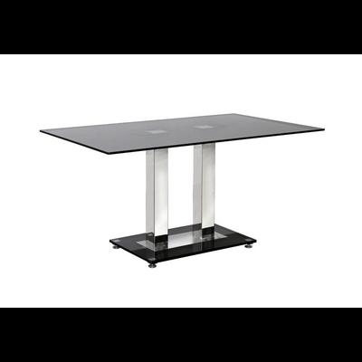 Table repas chromé verre trempé FLAT
