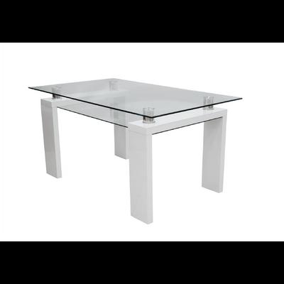Table repas laqué blanc verre trempé TOE
