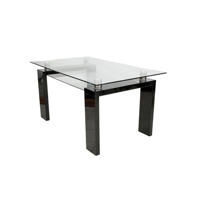 Table repas laqué noir verre trempé TOE