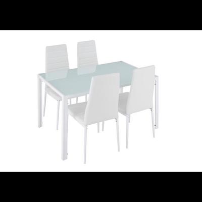 Table repas verre + 6 chaises blanc CONFO