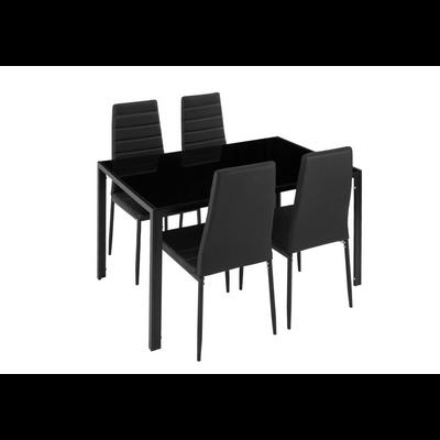Table repas verre + 6 chaises noir CONFO